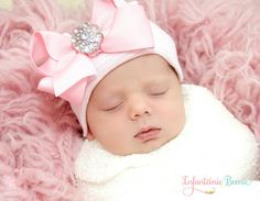 BABY BEANIE / Newborn Beanie / Girls Beanie / White and Pink Beanie with Bow/ Portait Hat/ Newborn Hospital Hat/ Girl Newborn/ Easter Baby on Etsy, $19.99