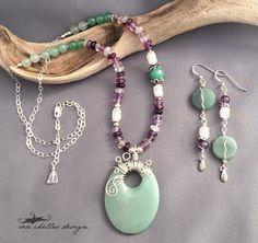 Handcrafted Jewelry by Sea Chelles Design - Jade pendant with Rainbow Fluorite, Quartz and Aventurine.