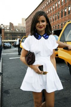 Love the blue collar on that doll-like white shirt and dress combination! #SocialblissStyle #bluecollar #sequincollar