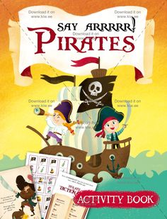 """Is your little one a wannabe-pirate? Are you trying to find a book thatcontains maps,dictionaries, """"dangerous"""" games, adventures and so much more?  We have designed this book to be perfect,colorful, with some activities suitable for children from 4 to 7 (approximately), it also contains the Pirate board game!  Get it for you own child, use it in a classroom (you can print as many copies as you need!), or give it as party favor after a piratesthemed party!"""