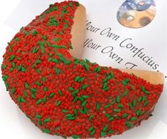 Holly & Berries Giant Fortune Cookie. Add your own message inside. Awesome Christmas gift idea!