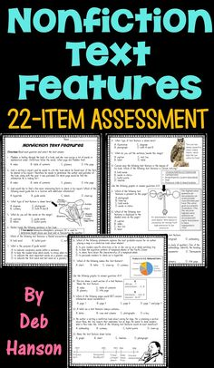 Nonfiction Text Features Assessment- this covers 23 text features!