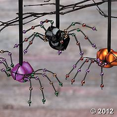 Jingly-Jangly Spider Ornaments could so easily make these - over the years I have made lots of these. So much fun and people love them. Also attach the Christmas Spider story . Halloween Trees, Holidays Halloween, Fall Halloween, Halloween Decorations, Christmas Holidays, Christmas Ornaments, Diy Halloween Ornaments, Halloween Crafts To Sell, Halloween Labels