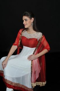 Maroon and White Anarkali