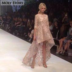 Elegant Ladies High Low Embroidery Dress