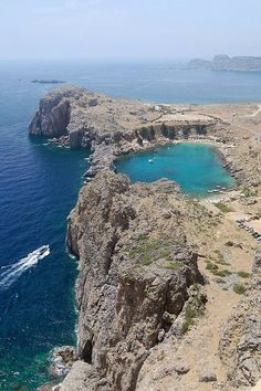 Been there and would to go back :-) x St Paul's Bay, Lindos, Rhodes, Greece. It does look like a heart doesn't it?