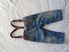 baby boy ZARA jeans pants 6-9 months blue kids clothes outfit suspenders