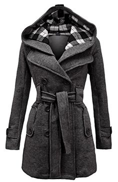 Ilishop Womens Check Double Breasted Hooded Coat with Belt Long Coats Grey 2XLUS1416 >>> Check out the image by visiting the link. (This is an affiliate link)