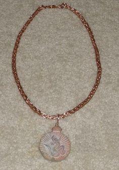 Buddhist Om Sandstone Pendant on a Rose Gold Viking Weave Chain