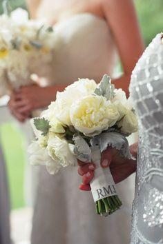 Monogramed Bridesmaid Bouquet! Charleston Wedding by Tara Guerard and Liz Banfield « Southern Weddings Magazine