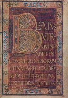 Le PSAUTIER DE DAGULF (Aix la Chapelle, avant 795) ne contient aucune enluminure, mais est écrit avec des encres d'or et d'argent sur du parchemin teint en pourpre- ENLUMINURE CAROLINGIENNE, 1) BASES, 1.3 LE LIVRE A L'EPOQUE CAROLIN. 2: Les manuscrits somptueux les plus représentatifs, comme l'EVANGILE DE GODESCALC, l'EVANGELIAIRE DE ST-MEDARD DE SOISSONS, l'EVANGELIAIRE DU COURONNEMENT, l'EVANGELIAIRE DE LORSCH, ou la BIBLE DE ST-PAUL, sont écrits à l'encre d'or ou d'argent sur du…