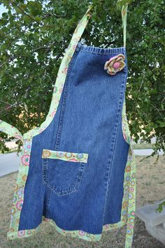 Cute upcycled denim apron with removable by MissBirdsCreations