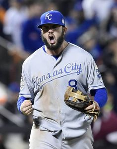 Kansas City Royals third baseman Mike Moustakas was fired up after the Royals defeated the New York Mets 5-3 in game four of the World Series on Saturday, October 31, 2015 at Citi Field in New York.