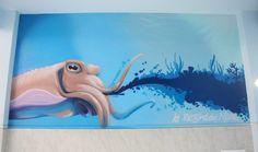 Decorative murals with spray #graffiti #Decoration #Murales #Spraypaint #Spray #Paint #fish #interior #sea #blue #atelierovunque #graffiti #painting #interiordesign #illustration #water #ocean #animal #barrier #Reef #mare #oceano #decorazione #pittura #calamaro #octopus # cuttlefish #ink #inchiostro