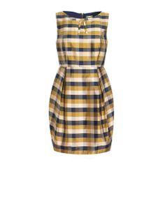 Silk Check Tulip Skirt Dress (silk dupioni)