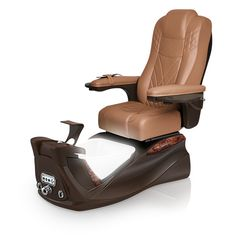 Infinity pedi-spa shown in Cappuccino Ultraleather cushion, Mocha base, Aurora LED Color-Changing bowl (shown in white)