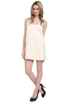 AGAIN Afterword Lambskin Dress in Crinkle White
