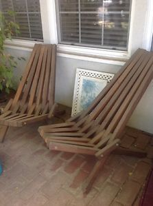 Delicieux Vintage Mid Century Danish Modern Wood Slat Folding Deck Lounge Chair