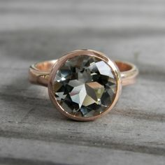 Rose Gold Ring, Green Amethyst Ring, Prasiolite Ring, Rose Gold Engagement Ring Solitaire, February Birthstone Jewelry, Statement Ring Gold by onegarnetgirl on Etsy https://www.etsy.com/listing/64549941/rose-gold-ring-green-amethyst-ring