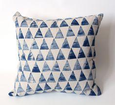 Geometric Triangle cushion cover Indigo, Linen cotton Hand printed 45x45. $60.00, via Etsy.