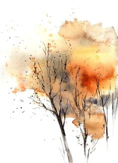 Tree Watercolor Painting, Autumn Painting, Autumn Art, Watercolor Landscape, Watercolor Flowers, Autumn Trees, Painting Abstract, Orange Painting, Watercolor Artists