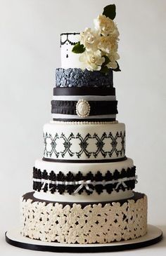 ornate black and white wedding cake