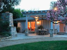Night lighting can be discreetly installed along the house or under a terrace roof as Glassman did in this yard.