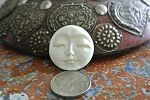 Bone Round Indonesian Carved Moon Face Bead/Cabochon