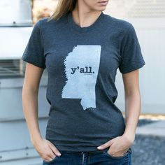 Hey y'all! The Mississippi Y'all T Shirt is insanely soft and donates 10% of profits to multiple sclerosis research! #fashion #streetstyle #tshirt #yall #funny