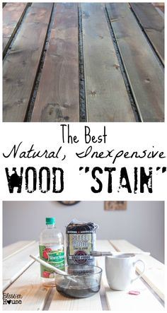 The Most Inexpensive All Natural Wood Stain Method If you're looking for an all natural wood stain method, this is the perfect DIY project for you! Just three ingredients are needed to make this inexpensive and all-natural wood stain. Diy Wood Stain, Paint Stain, Steel Wool Vinegar Stain, Best Wood Stain, Weathered Wood Stain, Grey Stain, Grey Wash, Salvaged Wood, Save For House