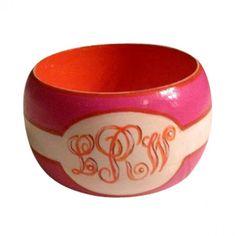 Hand painted Monogrammed Bangle Bracelet- Hot Pink/Orange