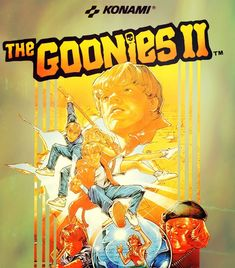 """Box art for """"Goonies II,"""" an adventure-platformer based on the """"Goonies"""" movie that was released by Konami for the Nintendo Entertainment System in Video Vintage, Vintage Video Games, Classic Video Games, Retro Video Games, Vintage Games, Video Game Art, Retro Games, Classic Nes Games, Classic Toys"""