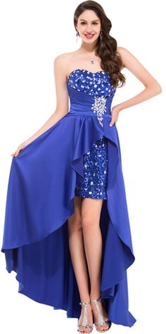 High Low Sweetheart Beaded Sequins Prom Evening Formal Dresses ED011637