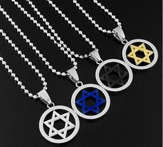 HT205 - Cool Stainless Steel Unisex Silver Jewish Star Of David Pendant Necklace BHAU