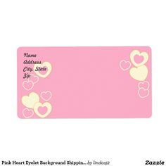Pink Heart Eyelet Background Shipping Label