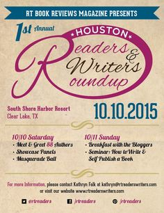 RT Book Reviews Magazine Presents our first annual Readers and Writers Roundup in Houston, TX October 10, 2015 #rtbookreviews #books #authors #houston