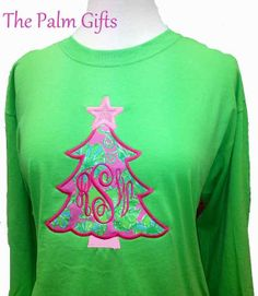 LONG SLEEVE Ladies  Lilly Pulitzer Fabric Monogrammed Shirt - Monogrammed Christmas Tree Style 6
