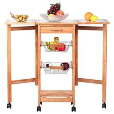 Eight24hours Portable Rolling Drop Leaf Kitchen Storage Island Cart Trolley Folding Table >>> Be sure to check out this awesome product.