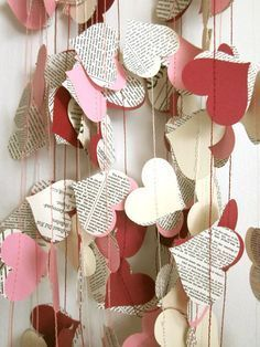 Items similar to Book Paper Garland - Cream Hearts Garland - Wedding Garland - Upcycled Paper Hearts - Valentine's Day on Etsy Diy Valentine's Day Decorations, Valentines Day Decorations, Valentine Day Crafts, Be My Valentine, Holiday Crafts, Hanging Paper Decorations, Saint Valentine, Birthday Decorations, Saint Valentin Diy
