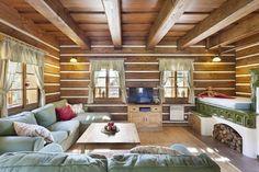 v Krkonoších - společenská místnost Ranch Life, Wooden House, House In The Woods, Traditional House, Country Style, My Dream Home, Homesteading, Tiny House, Kitchen Design