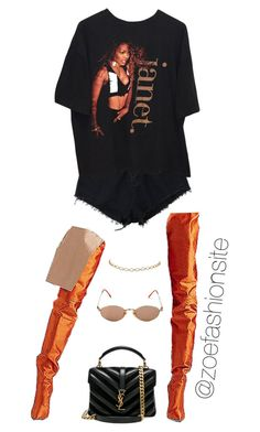 A fashion look from July 2017 featuring Yves Saint Laurent shoulder bags and Jean-Paul Gaultier sunglasses. Browse and shop related looks. Stage Outfits, Mode Outfits, Retro Outfits, Cute Casual Outfits, Stylish Outfits, Girl Outfits, Fashion Outfits, Look Fashion, Urban Fashion