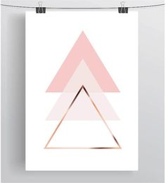 Triangle Art Blush Printable Pink Wall Decor Copper by PrintAvenue