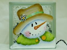 Fancy Hat Snowman-Glass block Light-Night Light Lamp