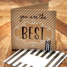 """Freundschaftskarte mit Aufschrift """"you are the BEST"""", inklusive Briefumschlag. In der heutigen Digitalisierung bekommt deine handgeschriebene Karte eine ganz neue Bedeutung und freut den Empfänger bestimmt um so mehr. Ein paar liebe Worte einfach so oder einen Liebesbrief zum Valentinstag, der Kreativität sind keine Grenzen gesetzt. Mit dieser zauberhaften Karte treffen Sie bestimmt ins Schwarze. Love Affair, Love Letters, Valentine Gift For Him, Reunions, Wrapping Gifts"""