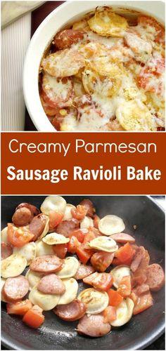 Creamy Parmesan Sausage Ravioli Bake