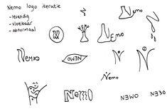 Ik heb gekozen voor schets iteraties van het NEMO logo. De woorden die ik hier eerst bij had waren niet goed vertaalbaar in beeld en het logo waar we op uit kwamen bestond alleen uit het woord terwijl het logo ook alleen een teken kan zijn en de letters er niet per se in hoeven te zitten. De nieuwe woorden die ik gebruik zijn levendig, vloeibaar en abnormaal.
