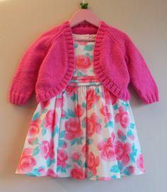 marianna's lazy daisy days: Pink Sparkle Girl's Bolero free pattern on ravelry Baby Knitting Patterns, Kids Patterns, Knitting For Kids, Free Knitting, Crochet Patterns, Sewing Patterns, Bolero Pattern, Jacket Pattern, Free Pattern
