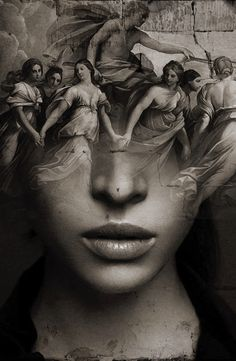 """'Eos' by Antonio Mora. - i-shutterbug - 'Eos' by Antonio Mora. """"Eos"""" - a double exposure portrait photograph by acclaimed Spanish photographer Antonio Mora (Spain). Pinned from: pin. Bild Tattoos, Body Art Tattoos, Exposure Photography, Art Photography, Portraits En Double Exposition, Arte Obscura, Poses References, Arte Horror, Surreal Art"""