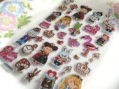 Alice's adventures in wonderland Glitter sticker cartoon fairy tale princess Queen of Hearts rabbit magic world sticker deco gift card