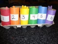 colored craft sticks from dollar store + toilet paper rolls covered in construction paper or painted = sorting, color recognition, counting, fun - for toddlers, leave off the numbers and just sort by color Preschool Colors, Preschool Learning, In Kindergarten, Preschool Activities, Teaching, Number Activities, Counting Activities, Toddler Activities, Craft Stick Crafts